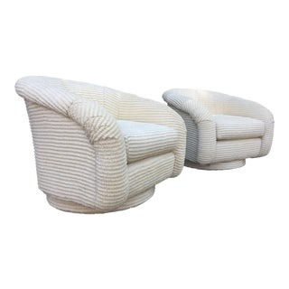 Mid-Century Modern Milo Baughman Style White Swivel Chairs - a Pair