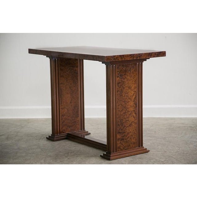 Art Deco Art Deco French Bird's Eye Maple Console Side Table circa 1930 For Sale - Image 3 of 6