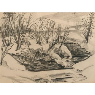 1950s Winter Snow Pond Scene Drawing For Sale
