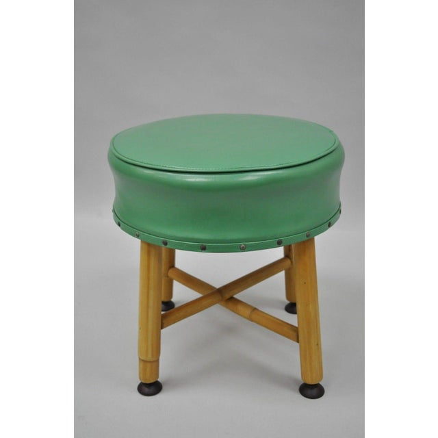 Item: Vintage Green Vinyl Tiki Chic Bamboo Wood Small Stool. Believed to be Ficks Reed Details: Round green vinyl seat,...