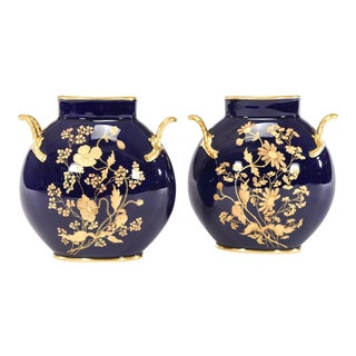 Pair of Limoges Cobalt Blue & Raised Paste Gold Vases with Floral Motif For Sale