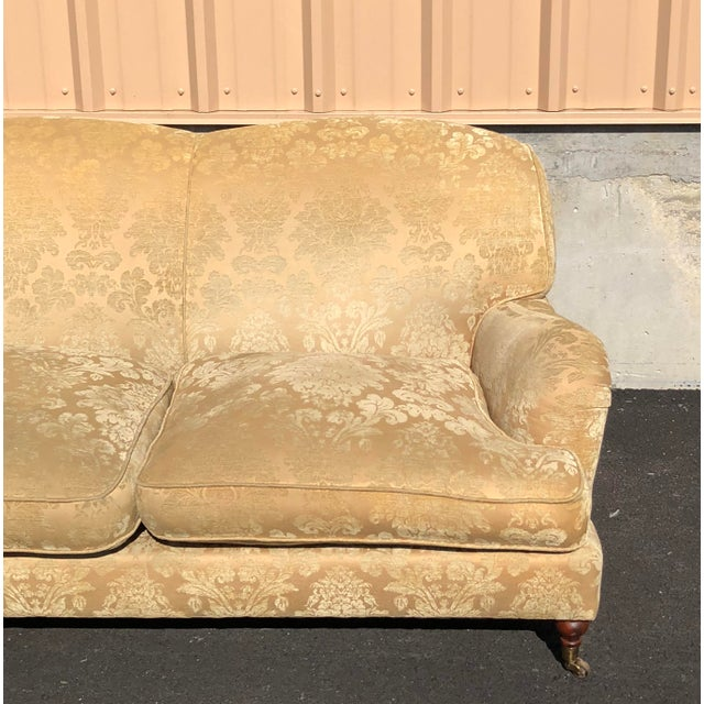 Brass Modern Ralph Lauren Damask Wyman Sofa For Sale - Image 7 of 9