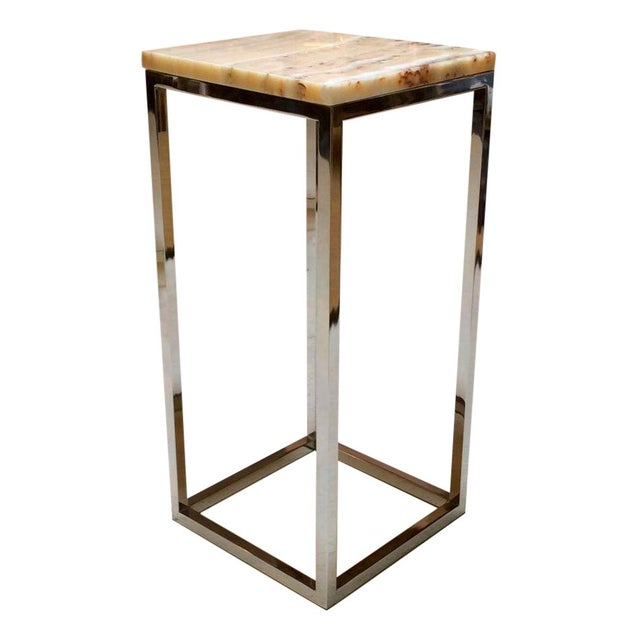 Milo Baughman Chrome & Marble Pedestal - Image 1 of 7