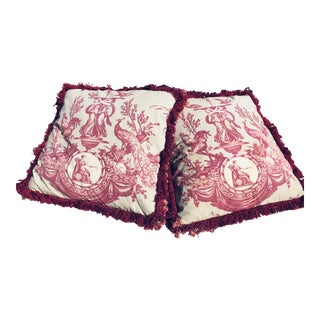 Vintage French Toile Pillows - Pair For Sale