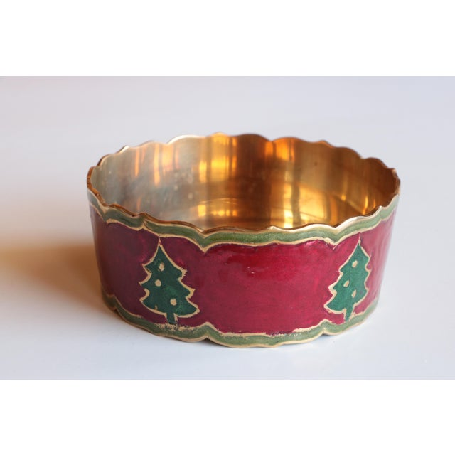 Enameled Brass Christmas Tree Champagne Coaster For Sale - Image 5 of 5