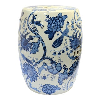 Chinoiserie Floral and Peacock Blue and White Porcelain Garden Stool For Sale