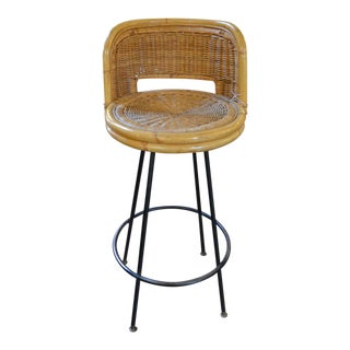 Mid Century Modern Danny Ho Fong Iron and Rattan Bar Stool For Sale