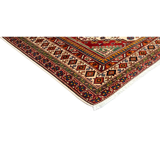 """New Traditional Hand Knotted Area Rug - 5' x 6'9"""" - Image 2 of 3"""
