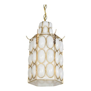 1970s Hollywood Regency White and Gold Caged Glass Pendant
