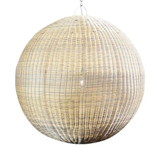 """Faux Rattan Globe Lantern 36"""""""