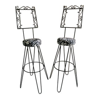 Vintage Mid Century Frederick Weinberg Style Iron Barstools - a Pair For Sale