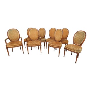 Vintage Mid Century Jansen Style Dining Chairs- Set of 8 For Sale