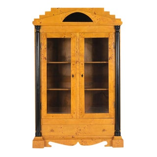 Traditional Antique Biedermeier Style Burl Bookcase For Sale