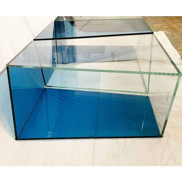 Glass 1970s Contemporary Geometric Blue and Clear Glass 3 Piece Coffee Table For Sale - Image 7 of 12