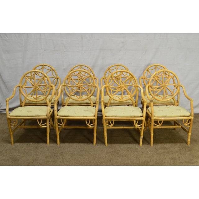 McGuire Style Vintage Rattan Bamboo Spider Back Dining Chairs - Set of 8 For Sale - Image 11 of 13