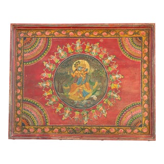 Exclusive Original Krishna Wooden Panel For Sale