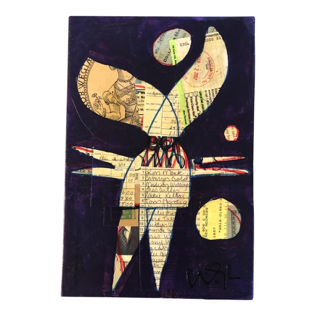 Original Contemporary Outsider Artist Wayne Cunningham Monster Painting/Collage For Sale