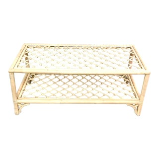 Chinoiserie White Washed Rattan Coffee Table With Bottom Shelf For Sale