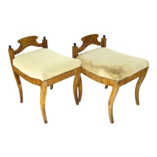 Biedermeier Swedish Low Back Stools Benches - a Pair For Sale