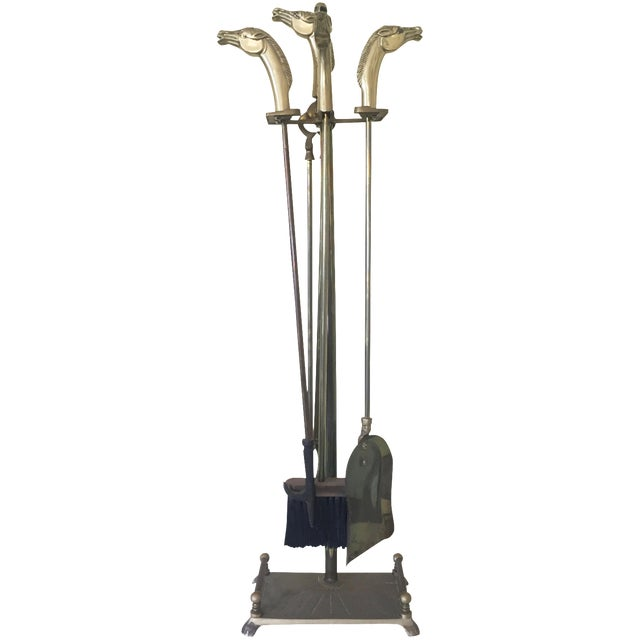 Brass Equestrian Fireplace Tools - 5 - Image 1 of 5