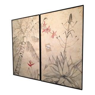 "Vintage Large Scale Original ""M. Boullosa"" Collage Art Pieces, Framed - a Pair For Sale"