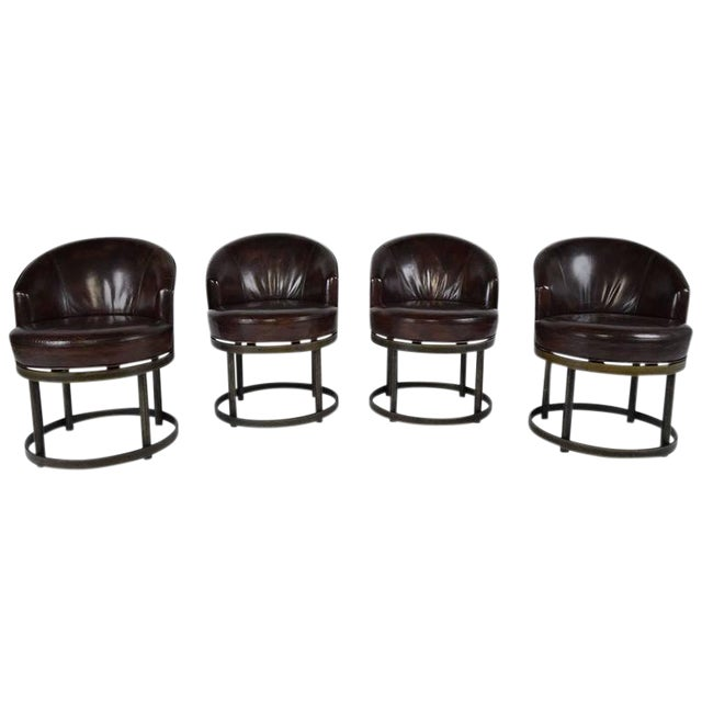 Vintage Art Deco Style Leather Accent Chairs - Set of 4 - Image 1 of 10