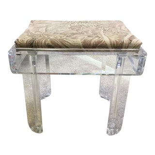 Vintage Lucite Tropical Print Fabric Bench For Sale