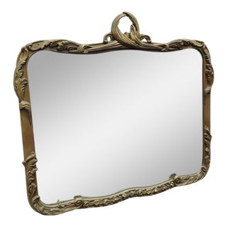 Carved Distressed Gold Painted Gesso Wall Bedroom Bathroom Entryway Mirror For Sale