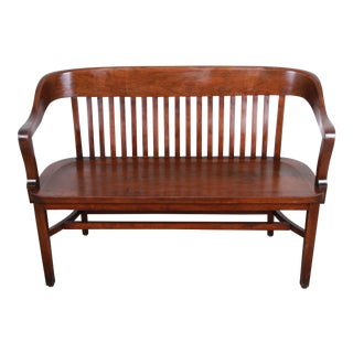 Antique Heywood-Wakefield Solid Walnut Lawyer's Bench For Sale