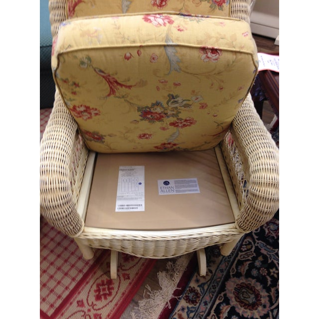 Ethan Allen Ethan Allen Off-White Wicker Rocking Chairs - Pair For Sale - Image 4 of 5