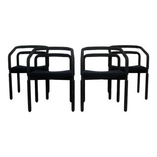 Contemporary Modern Black Dining Armchairs Metropolitan Knoll 1980s - Set of 4 For Sale