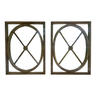 Boho Chic Interlude Home Wooden Rectangular Mirrors With Oval Inset Design - a Pair