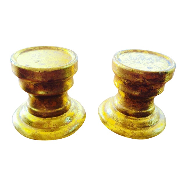 Gold Leaf Ceramic Candle Holders -Pair - Image 1 of 7