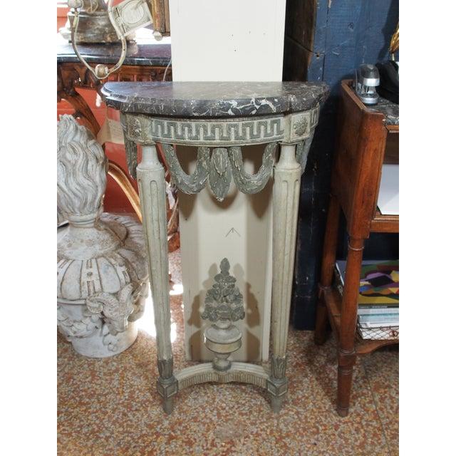 Gray Louis XVI Style Demi Lune Console For Sale - Image 8 of 8