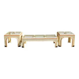 1960s Hollywood Regency Pagoda Cocktail Table W Brass Inlay and Glass Includes Side Tables - Set of 3