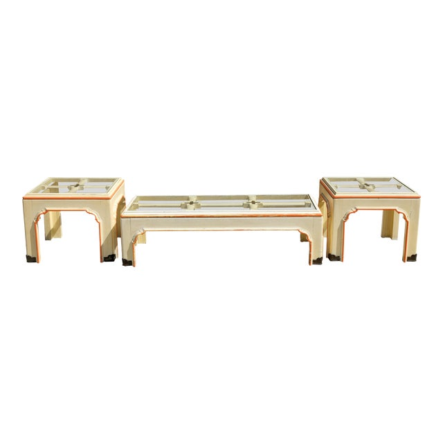 1960s Hollywood Regency Pagoda Cocktail Table W Brass Inlay and Glass Includes Side Tables - Set of 3 For Sale
