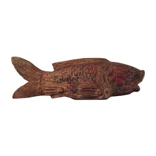 Large Handcarved Handpainted Stylized Fish For Sale