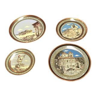 Vintage Greek Handmade Copper Plates - Set of 4 For Sale