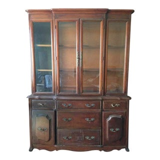 Antique Carved Mahogany Display Cabinet