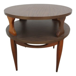 Mid-Century Modern Walnut Round Two Tiered Side Table For Sale