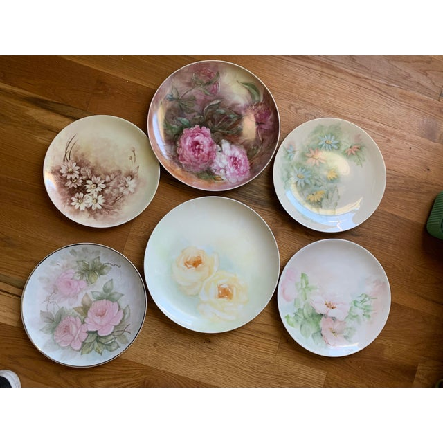 1940s Hand Painted Floral Decorative Wedding Plates - Set of 7 For Sale - Image 13 of 13