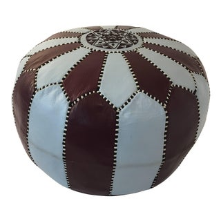 Vintage Moroccan Round Leather Pouf Brown and Blue Embroidered For Sale