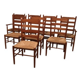 Set of 8 Ladderback Maple Chairs with Caned Seats For Sale