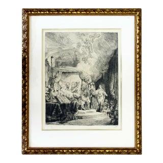 Antique 17th Cent. Rembrandt Van Rijn Death of Virgin Etching Drypoint Framed For Sale