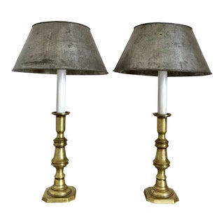 Pair of Brass Candlestick Lamps with Zinc Shades For Sale