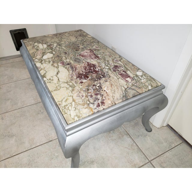 Queen Anne Queen Anne Burnished Silver Wood Coffee Table For Sale - Image 3 of 10