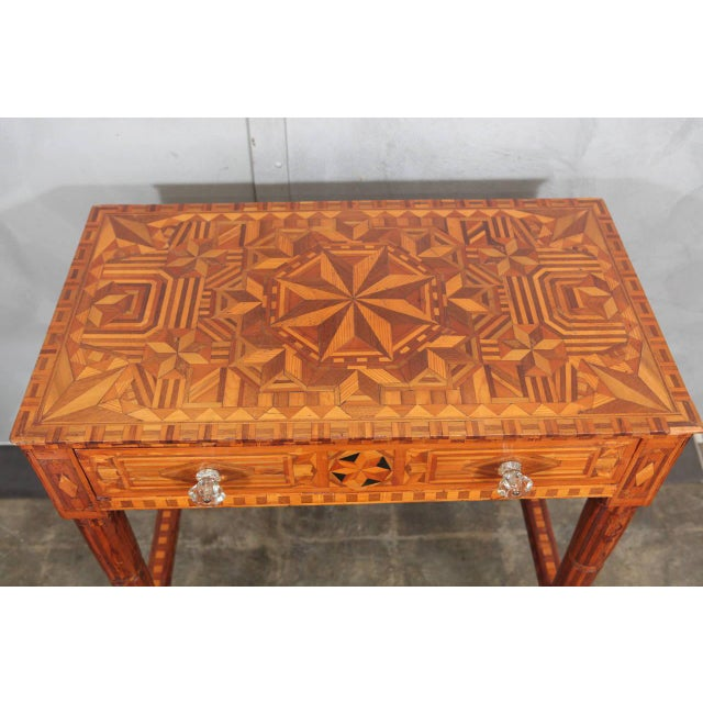 Folk Art Parquetry Side Table For Sale In Los Angeles - Image 6 of 8