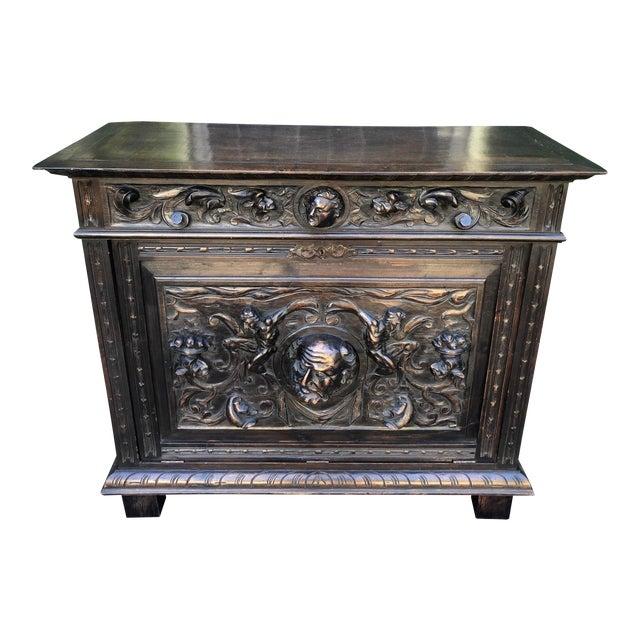 Antique Italian Renaissance Carved Figural Chest For Sale