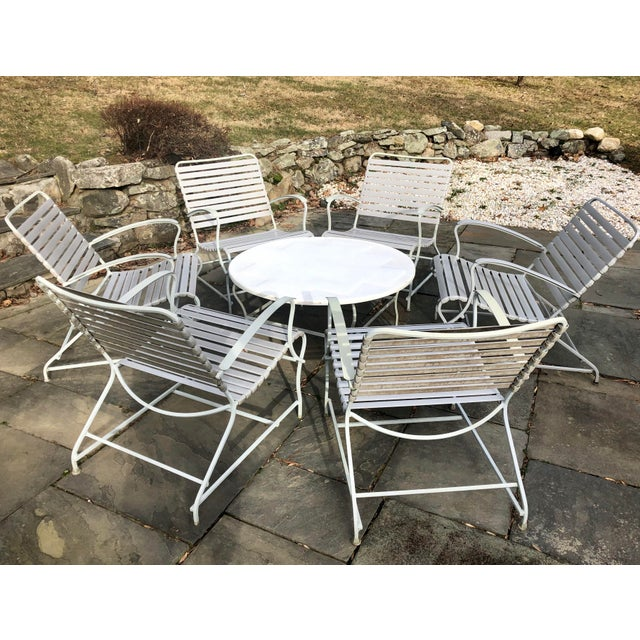 Mid Century Modern Patio Furniture Chairs Table Set Of 7 Chairish