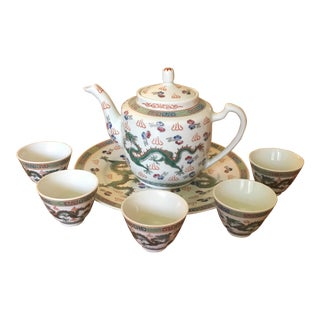 Chinese Zhongguo Jingdezhen Dragon Pattern Tea Set For Sale